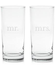 Mr. & Mrs. Highball Glasses, Set of 2