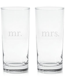 Mr. & Mrs. Highball Glasses, Set of 2