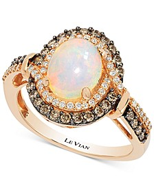 Chocolatier® Opal (1-1/5 ct. t.w.) and Diamond (1/2 ct. t.w.) Ring in 14k Rose Gold, Created for Macy's