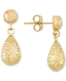 Textured Teardrop Drop Earrings in 14k Gold