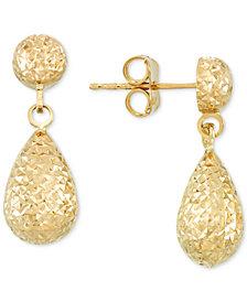 Textured Teardrop Drop Earrings in 14k Gold