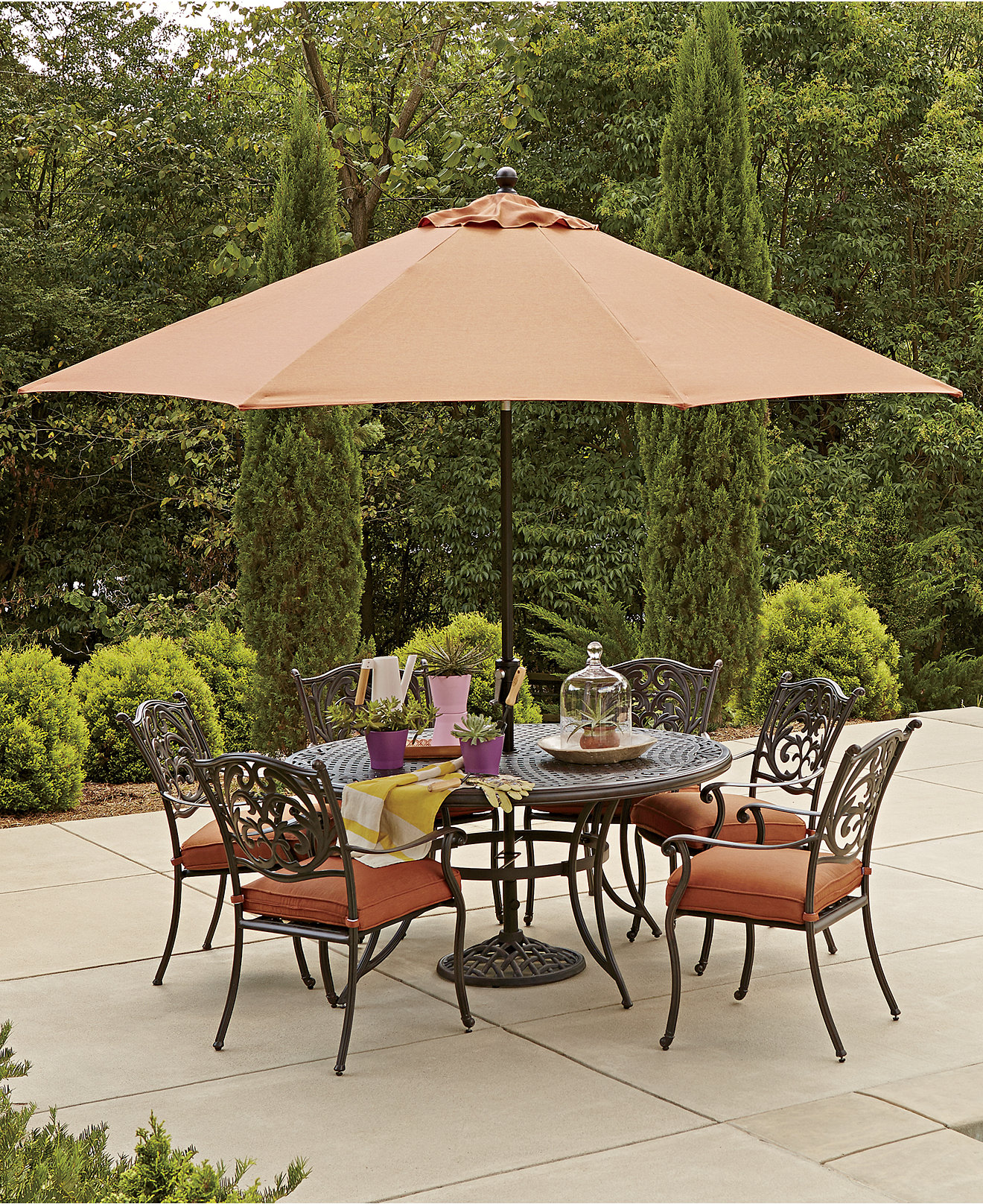Metal patio umbrella table modern patio outdoor for Patio table and umbrella sets