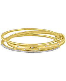 Diamond (1/4 ct. t.w.) Stackable Trio Bangle Bracelet Set in 14K Gold-Plated Sterling Silver