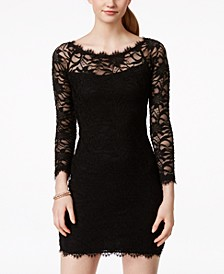 Juniors' Lace Body-Con Dress