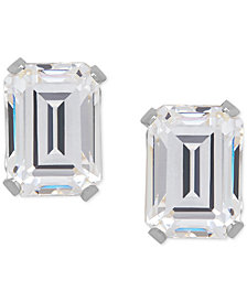 Cubic Zirconia Emerald-Cut Stud Earrings in 14k Gold or 14k White Gold