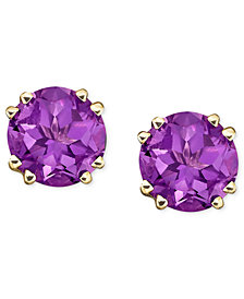 14k Gold Amethyst Stud Earrings 3 1 2 Ct T W