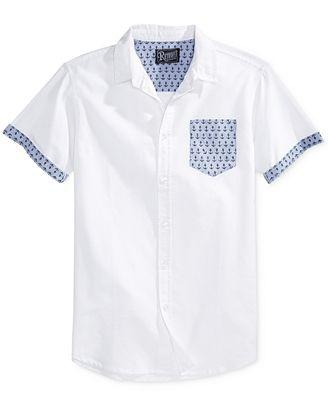 Retrofit Men's Anchor Graphic-Print Short-Sleeve Pocket Shirt ...