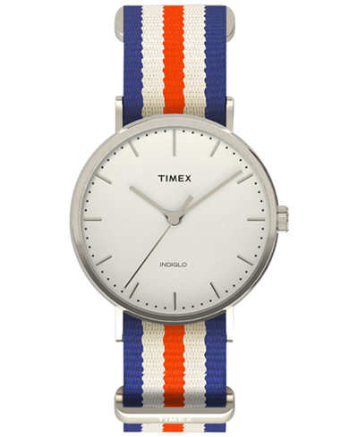 Timex Unisex Weekender Fairfield Orange/White/Blue Striped Nylon Strap Watch 45mm TW2P91100JT