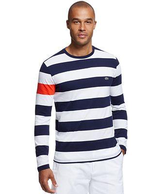 Lacoste Men's Colorblocked Stripe Long-Sleeve T-Shirt