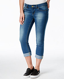 Indigo Rein Juniors' Second Skin Cropped Cuffed Jeans