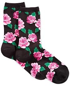 Hot Sox Women's Rose Print Fashion Crew Socks