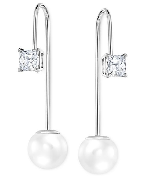 Imitation Crystal Pearl Linear Drop Earrings