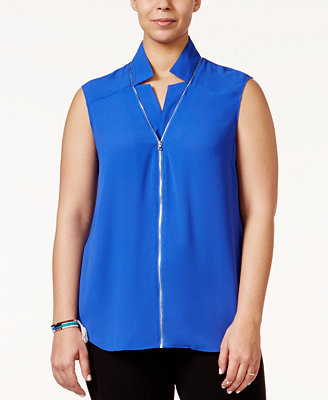Zip Front Blouse Plus Size 65