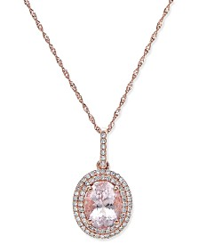 Morganite (1-1/2 ct. t.w.) and Diamond (1/5 ct. t.w.) Oval Pendant Necklace in 14k Rose Gold