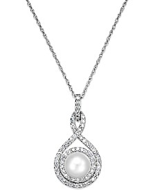 White Cultured Pearl (6-1/2mm) and Diamond (1/4 ct. t.w.) Pendant Necklace in 14k White Gold (Also Available in 14k Yellow Gold & 14k Rose Gold)