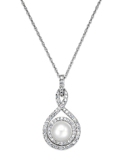 White Cultured Pearl (6-1/2mm) and Diamond (1/4 ct. t.w.) Pendant Necklace in 14k White Gold
