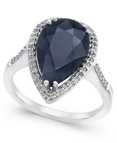 Black Sapphire (6 ct. t.w.) and White Topaz (1/4 ct. t.w.) Ring in Sterling Silver, Created for Macy's