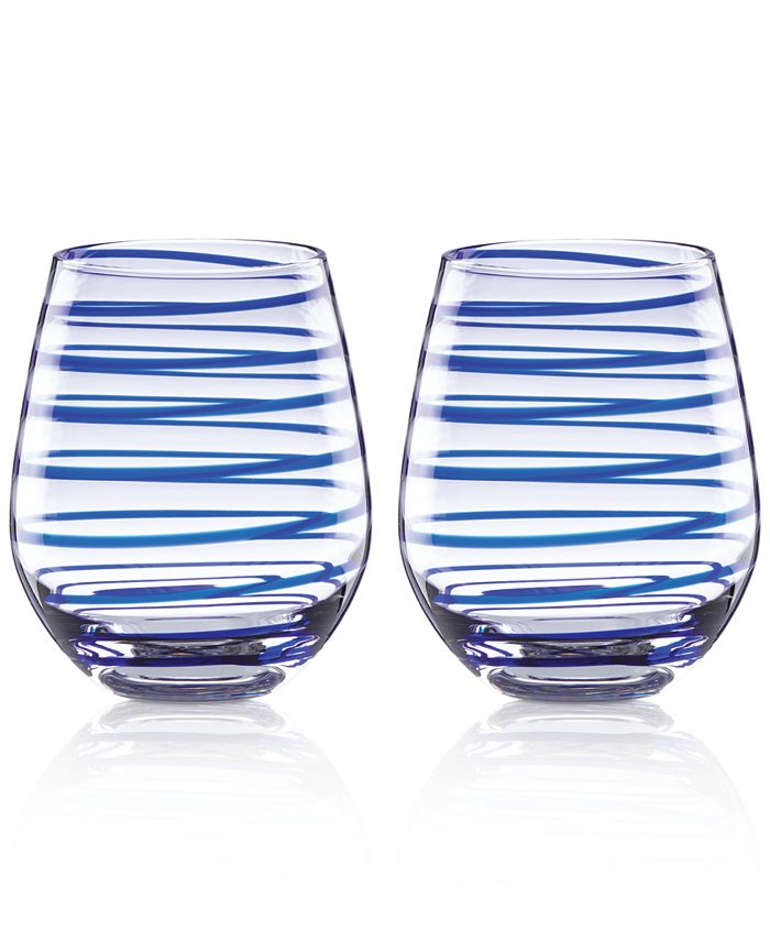kate spade new york - Charlotte Street Collection 2-Pc. Stemless Wine Glasses Set