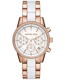 Women's Chronograph Ritz Two-Tone Stainless Steel and Acetate Bracelet Watch 37mm MK6324
