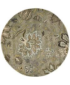 Rajah Tapestry Silver 8' Round Rug