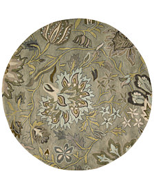 Nourison Rajah Tapestry Silver 8' Round Rug