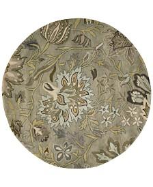 Nourison Rajah Tapestry Silver 8' Round Rug