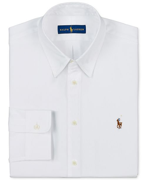 9ab57c30 Polo Ralph Lauren Men's Slim-Fit White Solid Dress Shirt & Reviews ...