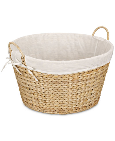 Household Essentials Banana Leaf Lined Laundry Basket, Natural