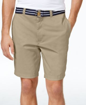 Image of Club Room Men's Estate Flat-Front Shorts with Belt, Only at Macy's