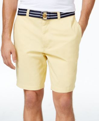 "Image of Club Room Men's Estate Flat-Front Shorts with Belt 9"" Inseam, Created for Macy's"