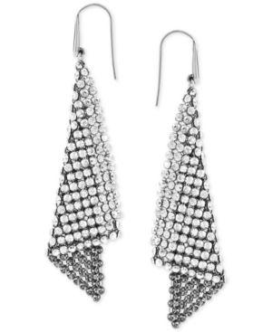 SWAROVSKI Earrings, Crystal Fan Earrings in Silver