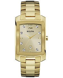 Bulova Men's Diamond Accent Gold-Tone Stainless Steel Bracelet Watch 31mm 97D107