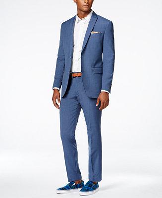 Bar Iii Men S Dusty Blue Solid Slim Fit Suit Separates