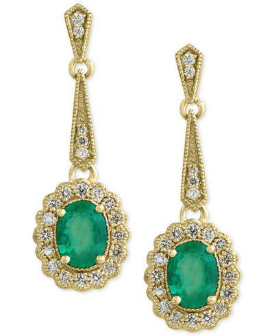 Brasilica by EFFY Emerald (2-1/4 ct. t.w.) and Diamond (3/4 ct. t.w.) Flower Drop Earrings in 14k Gold