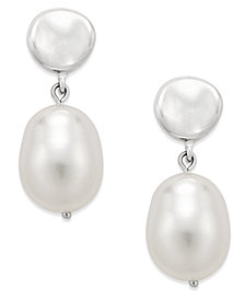 Freshwater Pearl (10mm) Drop Earrings in Sterling Silver