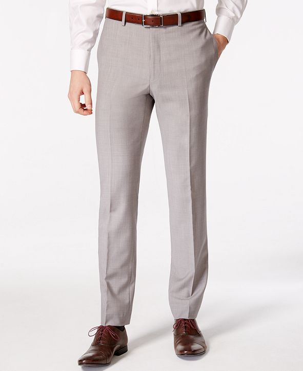 Calvin Klein Men's Solid Classic-Fit Suit Pants