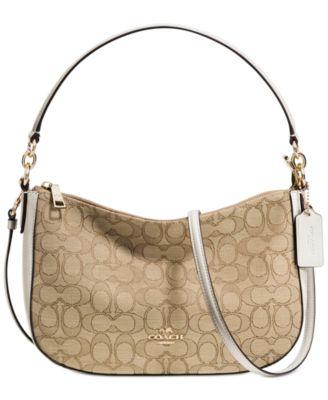 coach pink and gray purse aujs  COACH Chelsea Crossbody in Signature Jacquard