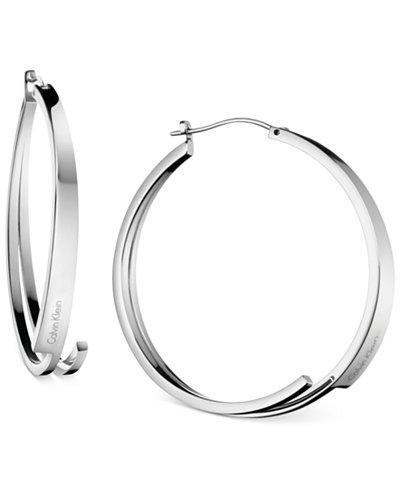 Calvin Klein beyond Silver-Tone Stainless Steel Hoop Earrings KJ3UME000100