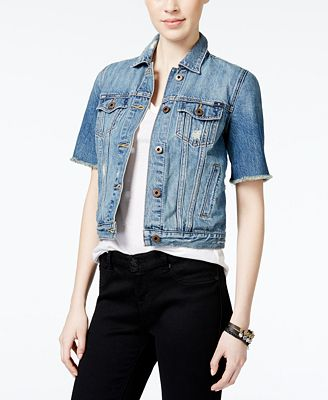 Lucky Brand Trucker Short-Sleeve Denim Jacket - Jackets - Women ...