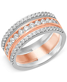Diamond Prong Band (1 ct. t.w.) in 14k White and Rose Gold