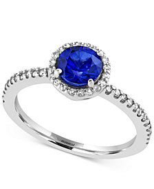 Royal Bleu by EFFY Sapphire (1 ct. t.w.) and Diamond (1/5 ct. t.w.) Ring in 14k White Gold, Created for Macy's
