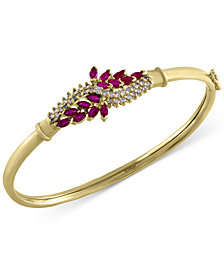 Ruby Royale by EFFY Ruby (1-5/8 ct. t.w.) and Diamond (1/2 ct. t.w.) Bangle Bracelet in 14k Gold, Created for Macy's