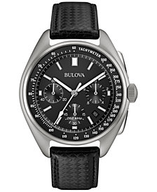 LIMITED EDITION Bulova Men's Special Edition Lunar Pilot Chronograph Black Leather Strap & Nylon Strap Watch 45mm 96B251