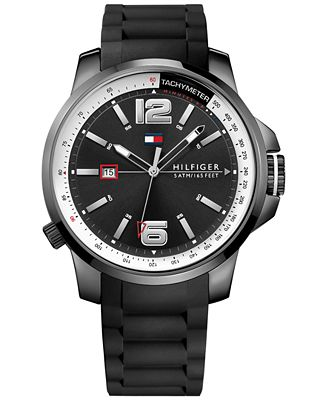 Tommy Hilfiger Men's Cool Sport Black Silicone Strap Watch 46mm 1791221