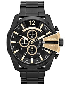 Men's Chronograph Mega Chief Black Ion-Plated Stainless Steel Bracelet Watch 51x59mm DZ4338