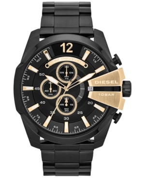 Diesel Men's Chronograph Mega Chief Black Ion-Plated Stainless Steel Bracelet Watch 51x59mm DZ4338