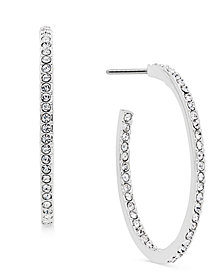 "Danori Silver-Tone Pavé 1"" Hoop Earrings, Created for Macy's"