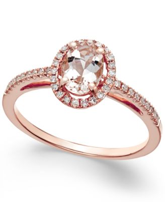 Morganite 58 ct tw and Diamond 16 ct tw Ring in 14k Rose
