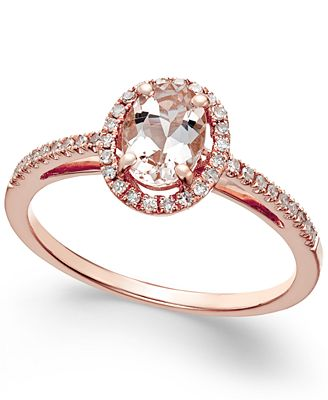 Morganite 5 8 ct t w and Diamond 1 6 ct t w Ring in 14k