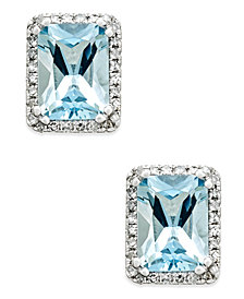 Aquamarine (1-1/2 ct. t.w.) and Diamond (1/6 ct. t.w.) Halo Stud Earrings in 14k White Gold